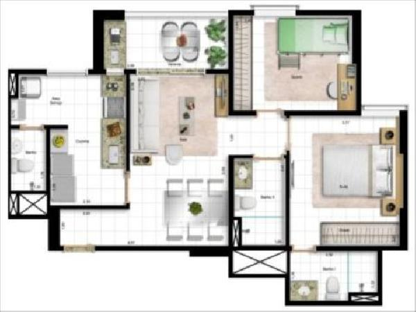Art Life Design - Planta 2 quatos 73m²