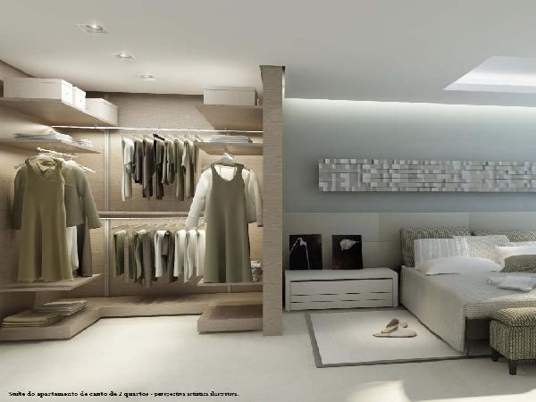 Living Super Quadra Park Sul - Perspectiva Quarto com Closet